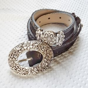 Coldwater Creek Leather Carved Silver Belt Small